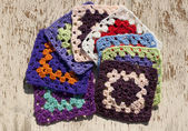 Colorfulcrocheting squares — Stock Photo