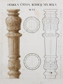 """Furniture detail drawing with russian text """"table stem, end of X — Stock Photo"""