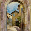 Stone gate in Assisi, Italy — Stock Photo