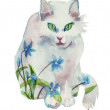 White watercolor spring cat concept - Stock Photo