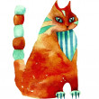 Red watercolor cat stylization — Stock Photo #9874793