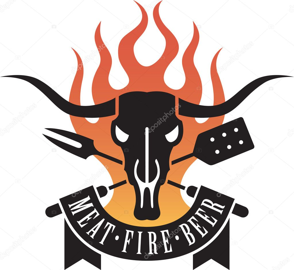 Barbecue logo features a cow skull and crossed utensils with flames and a banner proclaiming the holy triumvirate of barbecue: meat, fire and beer. Now thats good eatin!  Stock Vector #9309050