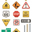 Set of 14 Highway Sign Vectors - Stock Vector