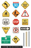Set of 14 Highway Sign Vectors — Stok Vektör