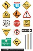 Set of 14 Highway Sign Vectors — Stock Vector
