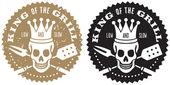 Roi du logo barbecue grill — Vecteur