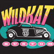 Stock Vector: Wildkat Kustom Hot Rod Logo