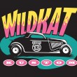 Wildkat Kustom Hot Rod Logo — Stock Vector