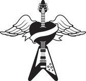 Tattoo-style guitar illustration — Stock Vector