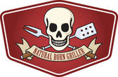 Natural born griller barbecue logo — Stock Vector