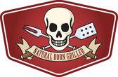 Natural born griller barbecue logo — Stock Vector