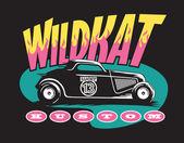 Wildkat Kustom Hot Rod Logo — Stock Vector