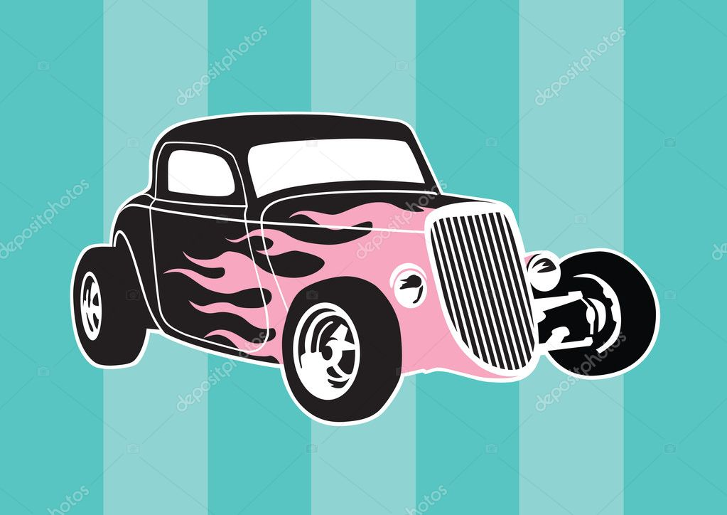 Vector illustration of a classic, old-school hot rod with pink flames. — Stock Vector #9471620