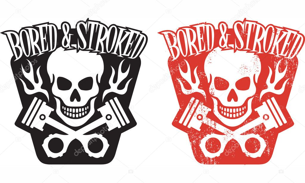 Vector illustration of skull and crossed pistons with flames and the ...