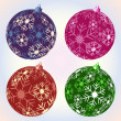 Stock Vector: Christmas snowflake baubles