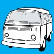 Black and white campervan - Stock Vector