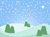 Snowy christmas landscape — Stock Vector