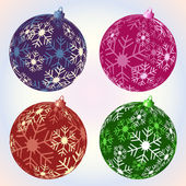 Christmas snowflake baubles — Stock Vector