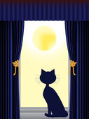 Cat looking out of window — Stock Vector