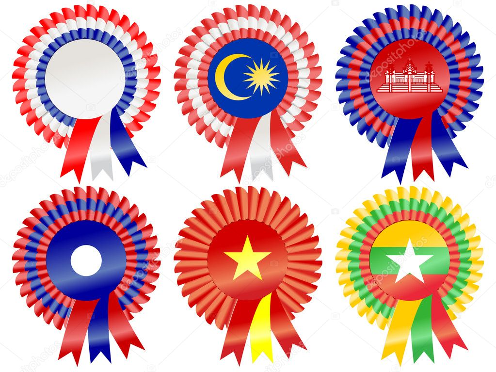 Rosettes to represent South East Asia countries; including Thailand, Malaysia, Cambodia, Laos, Vietnam and Burma (Myanmar)  Stock Vector #9419033
