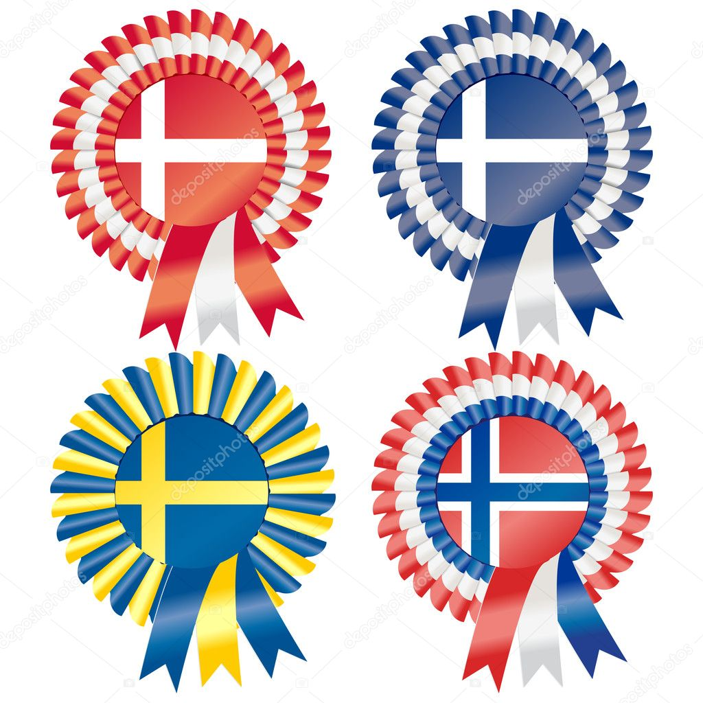 Rosettes to represent Northern European countries, including Denmark, Finland, Norway and Sweden — Stock Vector #9419567