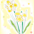 Watercolor daffodils — Stock Vector