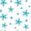 Stock Vector: Blue flower repeatable pattern