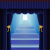 Blue curtains with staircase — Stock Vector