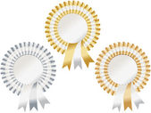 Gold, silver, bronze rosettes — Stock Vector