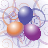 Balloons with swirl background — Stock Vector