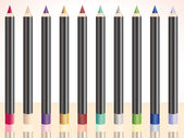 Row of make up pencils — Stock Vector