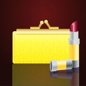 Gold wallet and lipstick — Stock Vector