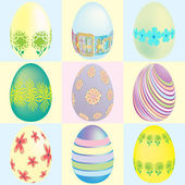 9 easter egg designs — Stock Vector