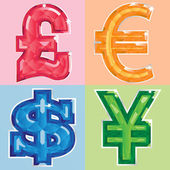 Jewelled currency symbols — Stock Vector