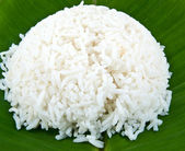 Cooked rice on banana leaf — Stock Photo