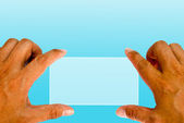 Hand and finger touching on blank transparent copy space — Stock Photo