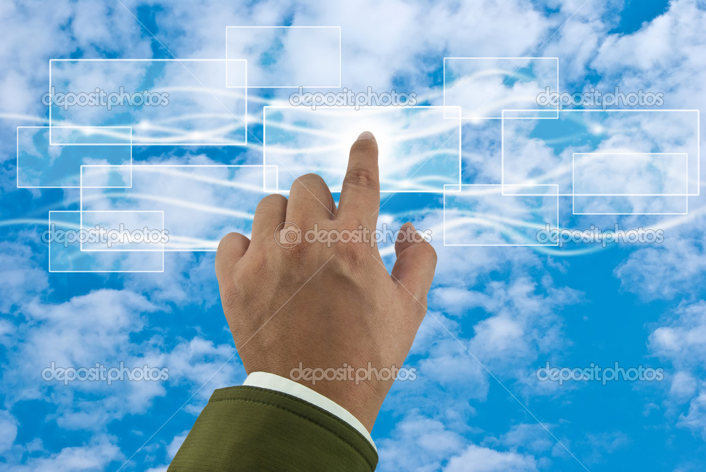Cloud computing concept with business hand  — Stock Photo #10268117