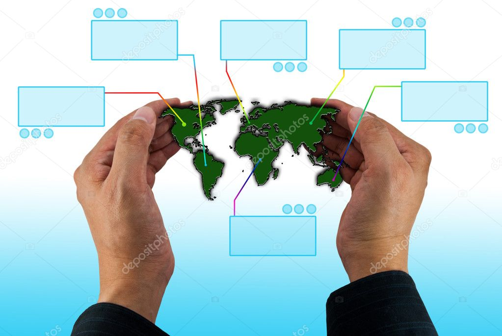 Map of the world in hands with virtual blank space — Stock Photo #10268693