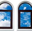Stock Photo: Blue sky in window frame