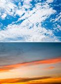 Gün ışığı ve alacakaranlık gökyüzü arka plan kümesi — Stok fotoğraf