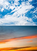 Set of daylight and twilight sky background — Stock fotografie