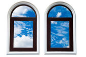 Blue sky in the window frame — Stock Photo