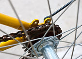 Chains and gears of the bicycle — 图库照片