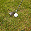 Stock Photo: Iron golf club and golf ball on green grass