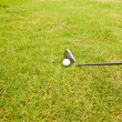 Royalty-Free Stock Photo: Iron golf club and golf ball on green grass