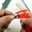 Technical drawing and tools in hand — Stock Photo #10413598