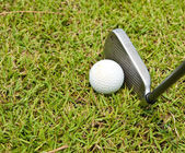 Iron golf club and golf ball on green grass — Stock Photo