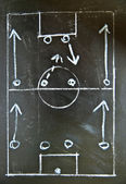 Tácticas de fútbol (soccer) dibujo en pizarra, 4-4-2 formación. — Foto de Stock