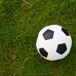 Soccer or football ball on green grass — Stock Photo