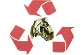 Brown crumpled paper in red recycle sign — Stock Photo
